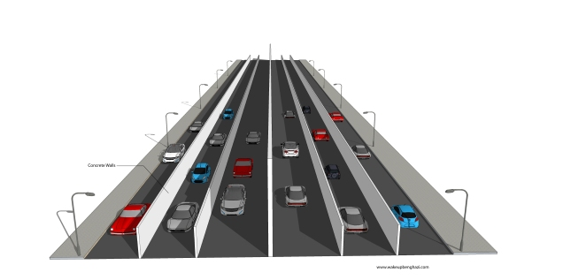 Highways with wall lanes