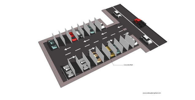 Parking lot with walls
