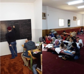 English teacher volunteer gives  classes in different locations including Mosques